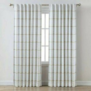 NEW Threshold gold cream blackout curtains striped